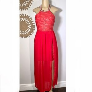 Freesia Small Red Long Dress Slit Tulle